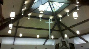 Trinity Lutheran stained glass ceiling and cross