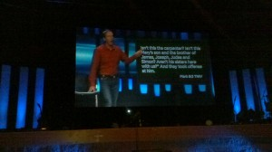 Andy Stanley on projection screen at Rock Point Community Church